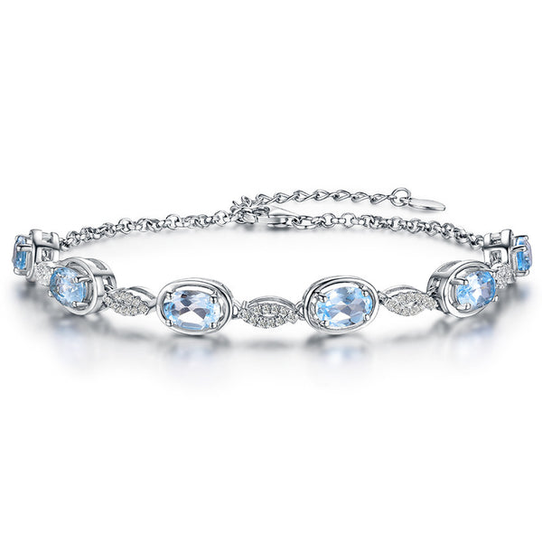 3.4ct Natural Sky Blue Topaz Strand Bracelets - 925 Silver with Diamond and Oval Gemstone Bracelets for Women - 16cm length - Necklace for Her