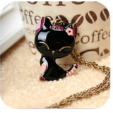 Cat Necklace Enamel Pendant Charm Brand Jewelry - Necklace for Her