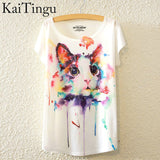 Animal Cat Print Shirt O-Neck Short Sleeve T Shirt - Women - Necklace for Her