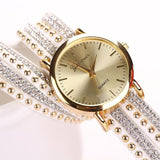 New Women Watch Crystal Rivet Bracelet Quartz Braided Winding Wrap - Necklace for Her