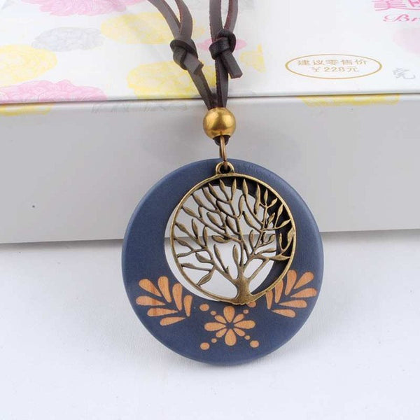 Necklace Wooden Alloy Tree Pendants Neckless Cord - Necklace for Her