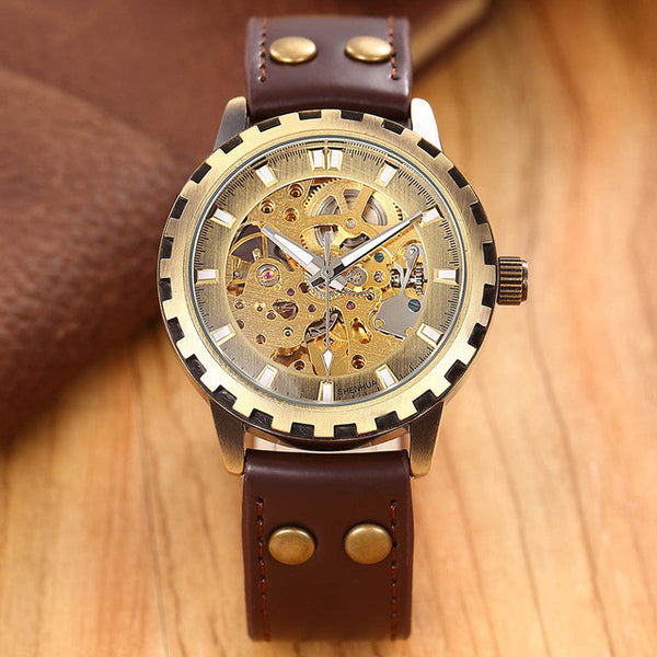 leather band men military clock automatic Skeleton mechanical Watch self wind - Necklace for Her