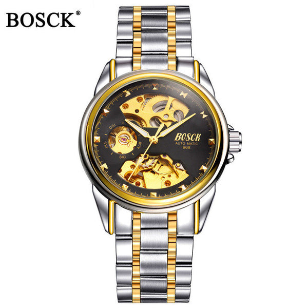BOSCK Mechanical Watches Men Skeleton Gold Automatic Waterproof Self-winding Clock Stainless Steel - Necklace for Her