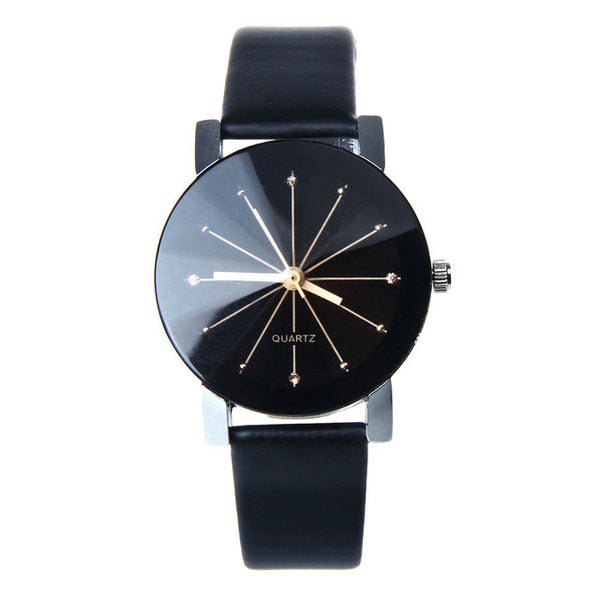 Luxury Quartz Women Watches with Black Dial Clock PU Leather WristWatch Round Case - Necklace for Her