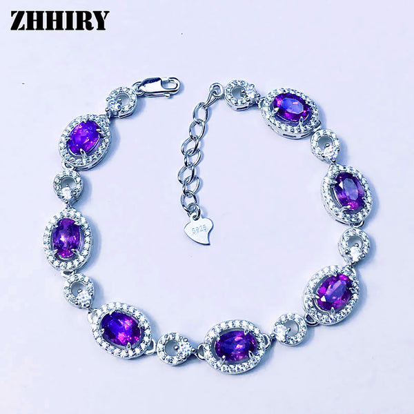 Natural Purple Amethyst Gemstone Bracelet Genuine Solid 925 Sterling Silver Real Stone Women Fine Jewelry