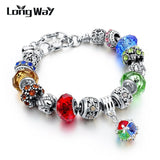 925 Silver Charm Bracelets For Women With Crystal Beads Bracelets - 18cm length - variants of colors - Necklace for Her