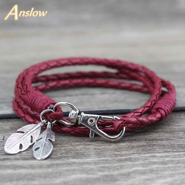 Leather Charm Friendship Bracelets & Bangles Feather Bracelet