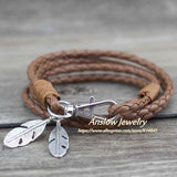 Leather Charm Friendship Bracelets & Bangles Feather Bracelet - Necklace for Her