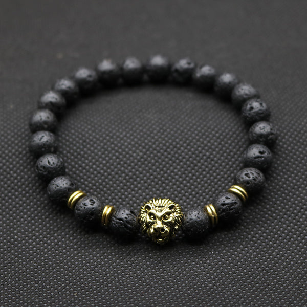 Antique Gold-Color Lion Head Bracelet Black Lava Stone Unisex