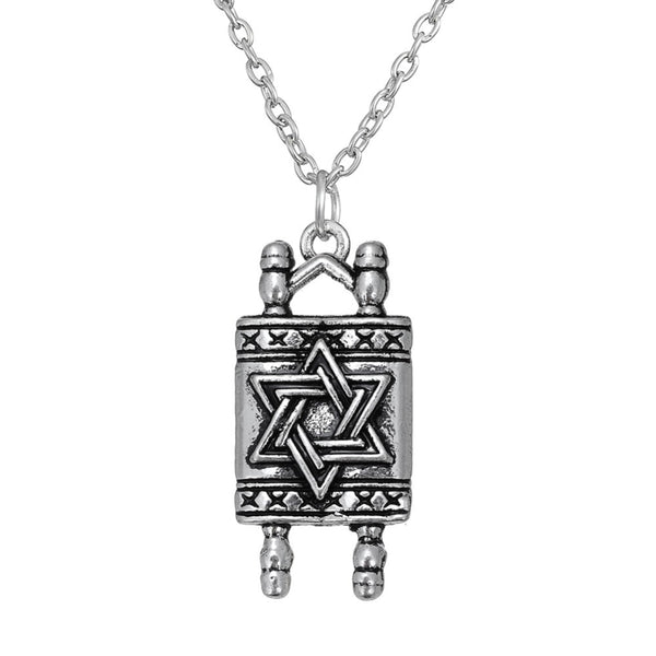Dawapara Jewish Hebrew Sefer Torah Scroll Religious Men Pendant Necklace Women With Star Of David - Necklace for Her