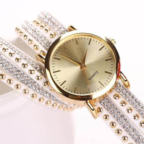 New Women Watch Crystal Rivet Bracelet Quartz Braided Winding Wrap