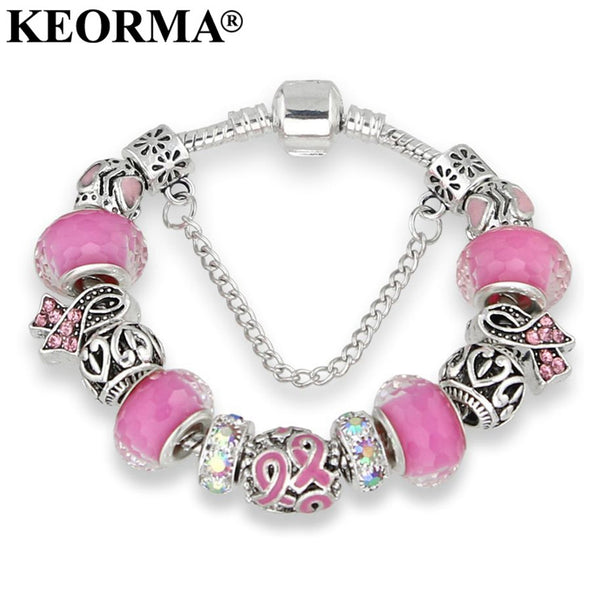 Breast Cancer Awareness Pink Ribbon Charm Bracelet - Necklace for Her