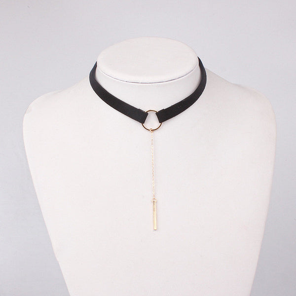90'S Punk New Fashion 4 Colors Leather Choker Necklace Gold Color Geometry With Round Pendant Collar - Necklace for Her