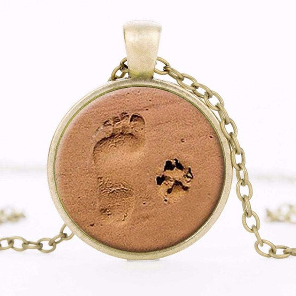 Dog Paw Pendant Paw Print Jewelry Paw and Footprint Pendant - Necklace for Her