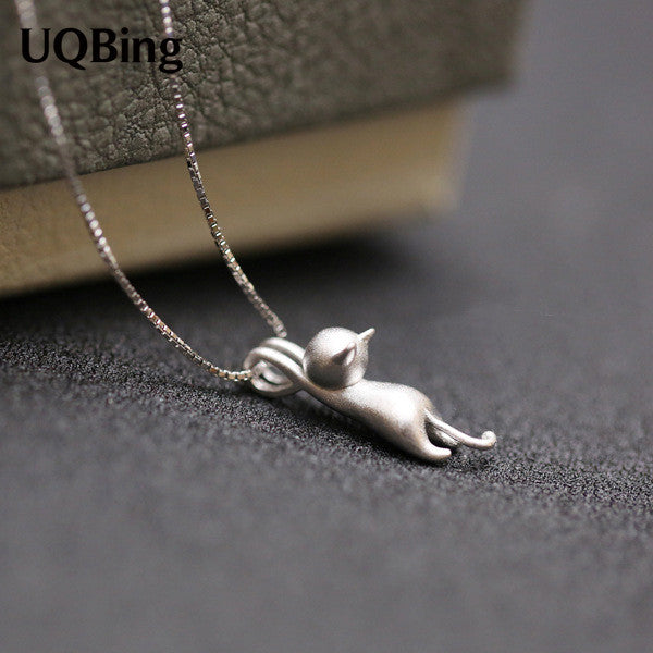 925 Sterling Silver Necklaces Cats Pendants&Necklaces Pure Sterling Silver 925 Kitty Necklace Jewelry Collar Colar de Plata - Necklace for Her