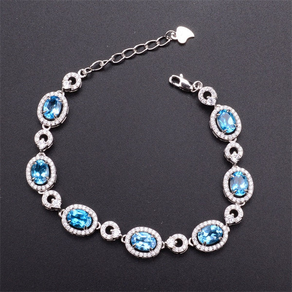 Natural Blue Topaz Bracelet 5*7mm Oval Gemstone 925 Sterling Silver Jewelry