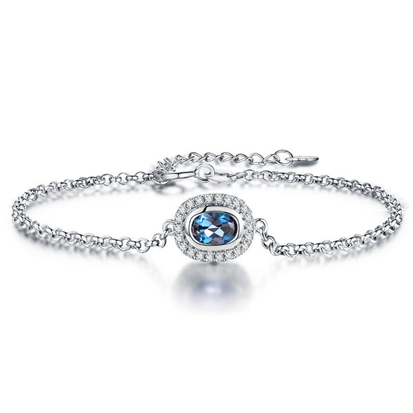 Natural Blue Topaz Chain Bracelets with 925 Sterling silver andOval Gemstone for Women