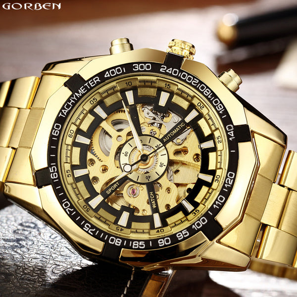Golden Luminous Automatic Mechanical Skeleton Dial Stainless Steel Band Wrist Watch Unisex