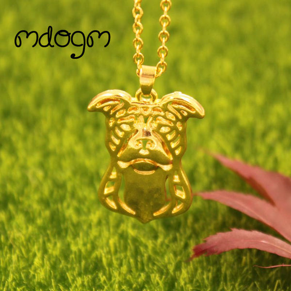American Pitbull Necklace Dog Pendant Gold, Silver Plated Jewelry For Unisex