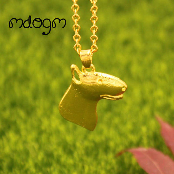 Bull Terrier Necklace Dog Pendant Gold Silver Plated Jewelry For Unisex - Necklace for Her