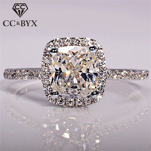 CC 925 Sterling Silver Rings For Women Bridal Wedding Anelli Trendy Jewellery Engagement White Gold Color Anillos Mujer CC595 - Necklace for Her