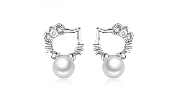 Silver 925 Cute Kitty Cat Stud Earrings for Girls Fashion Pearl Earrings For Women - Necklace for Her