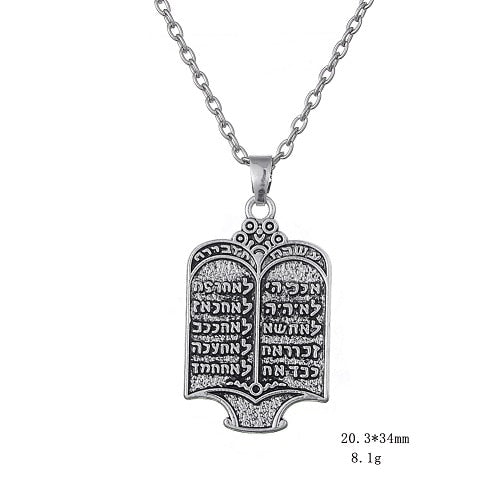 Fishhook Tibetan Silvery Jewish Torah Scroll 10 Commandments Necklace Ethnic Jewelry - Necklace for Her