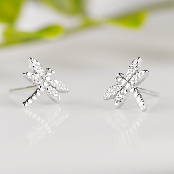 100% 925 Sterling Silver Prevent Allergy Dragonfly Stud Earrings for Women Girls Fashion Jewelry Pendientes - Necklace for Her