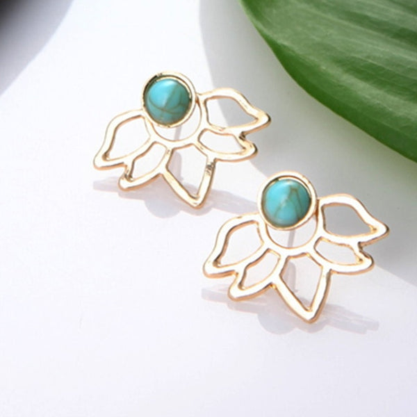 Crystal Flower drop Earrings For Women fashion Jewelry Double Sided Gold Silver earrings gift for party best friend A55 - Necklace for Her