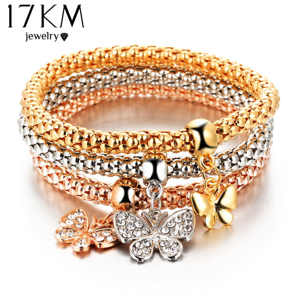 3 PCS/Set Crystal Butterful Bracelet & Bangle Elastic Heart Bracelets For Women pulseira masculina - Necklace for Her