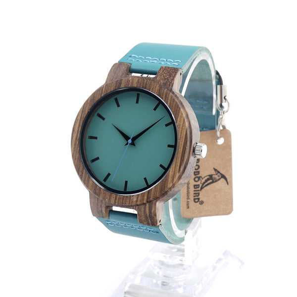 Wooden Watch with Genuine Blue Cow Leather Strap Quartz Analog Casual Wood Watches - Necklace for Her