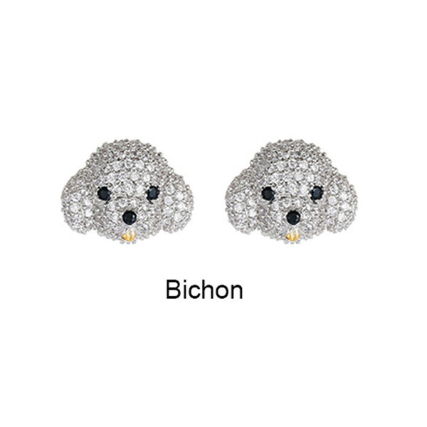 Super cute pet dog ear stud microinlay husky poodle bichon silver color needle fun animal earrings MH2201 - Necklace for Her
