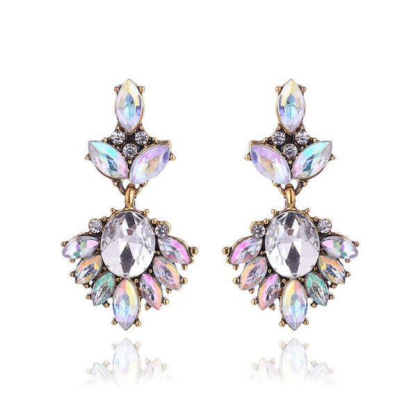 17colors Vintage Antique Golden Transparent Rhinestone Earrings For Women Bijoux Brincos Women's Christmas Gift 2018 - Necklace for Her