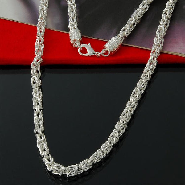 Special Offer 925 Sterling silver Byzantine Chain necklace classic jewelry 5mm Free Shipping - Necklace for Her