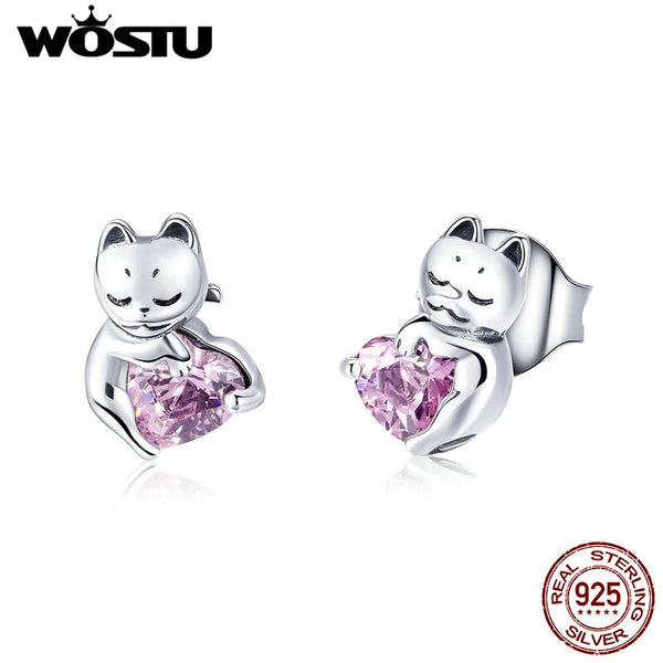 925 Sterling Silver Adorable Cat Pink Heart Stud Earrings For Women Girl - Necklace for Her