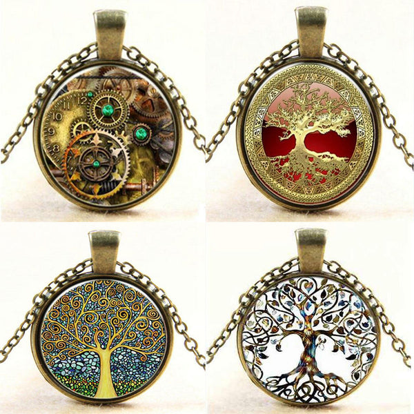 Steampunk Vintage Tree of Life Cabochon Bronze Glass Chain Pendant Statement  Necklace Women Bijoux Femme Jewelry 2016 New - Necklace for Her