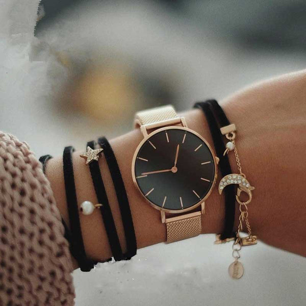 Fashion Big Brand Women Stainless Steel Strap Quartz Wrist Watch Luxury Simple Style Designed Watches Women's Clock - Necklace for Her