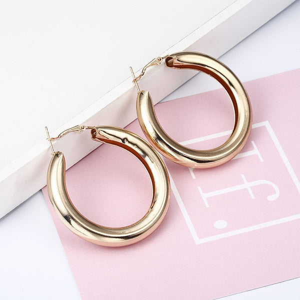 Gold color Silver plated geometric big round earrings for women fashion big hollow drop earrings jewelry - Necklace for Her