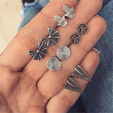 Vintage Geometric Stud Earrings Set For Women Girls 2018 Fashion Bead Stone Flower Small Earrings Boucle d'oreille Femme Gifts - Necklace for Her