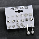 Heart Flowers Infinite Symbol Stud Earrings Set 2018 New Rhinestone imitation Pearl Earrings for Women Gift - Necklace for Her