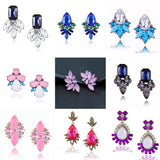 Classical Jewelry Big Crystal Stud Earrings Women Waterdrop Flower Vintage Earrings Dazling Indian Jewellry Wedding Party Gifts - Necklace for Her
