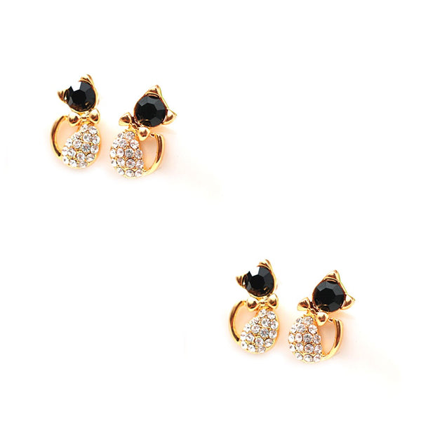 Earrings Cute Cat Stud Earrings for Women Girls 2pairs - Necklace for Her