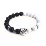 Tibetan Leopard Head Womens Bracelet White Howlite & Black Lava Stone Beaded - Necklace for Her