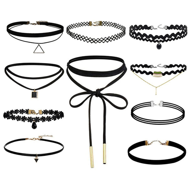 Best Deal New Fashion 10Pcs/set Women Black Rope Choker Necklace - Necklace for Her