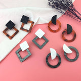 2019 Fashion Jewelry Leopard Acrylic Resin Oval Dangle Earrings For Women Geometry Big Circle Square Earrings Acetate Brincos - Necklace for Her