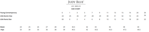 Judy blue Jeans Size Chart