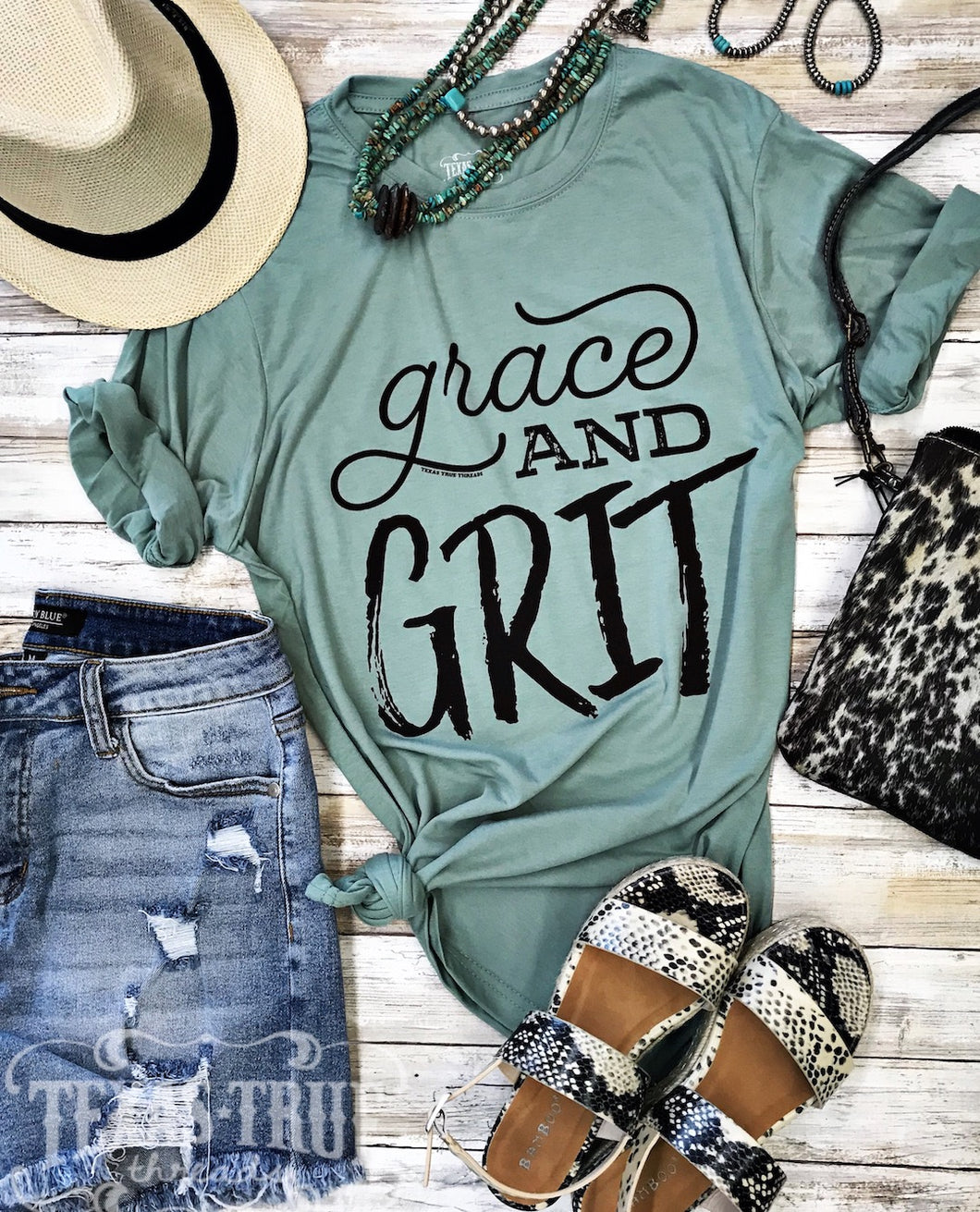 Grace and Grit Tee Graphic Tees > women > woman > classy > ranch life > country girl > rural > southern > lady > hard working > boss babe > strong women > mom > momlife > style > farm girl > teal > green > cotton blend > texas boutique  Texas True Threads - Horse Creek Boutique