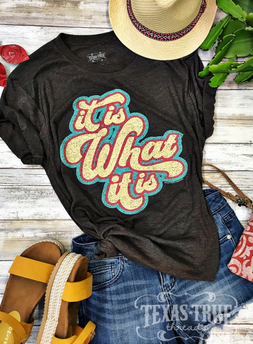 It Is What It Is by Texas True Threads Graphic Tees > 70s > groovy > boho > retro > turquoise > brown > t-shirt > Texas boutique > Texas True Threads > plus size > cotton blend > soft  Texas True Threads - Horse Creek Boutique