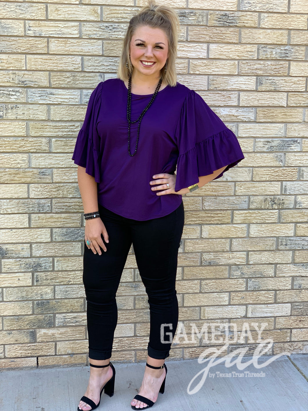Stacie Ruffle Blouse by GameDay Gal Tops  Texas True Threads - Horse Creek Boutique