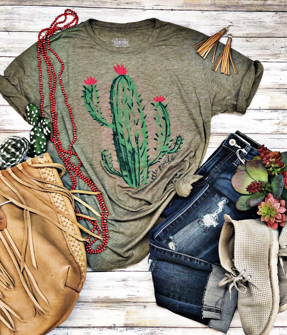 Sage Cactus Tee by Texas True Threads Graphic Tees  Texas True Threads - Horse Creek Boutique